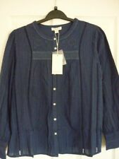 Monsoon Wenda Dark Blue Embroidered Boho Shirt Top UK 16 EUR 44 US 12