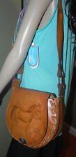 VINTAGE leather saddle bag purse shoulder bag tooled leather horse mint cond
