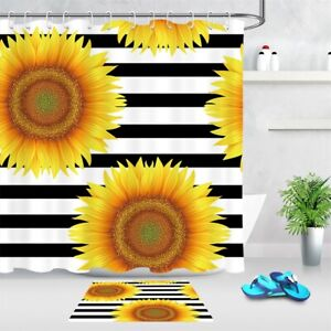 "Sunflowers Patterns Black & White Stripes Shower Curtain Set Bathroom Decor 72"""