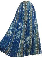 AMAZING Bohemian Skirt Blue Geometric Crinkle Rayon Boho Hippy Festival UK 14/16