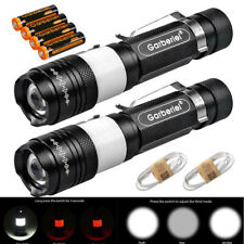 2pc Tactical Police T6 USB 18650 Zoomable LED Flashlight Torch Light +Battery