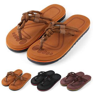 Anti-Slip Men's Thong Flip Flops Summer Beach Knotted Strap Sandals Size 9-10