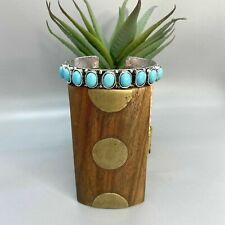 Thin Silver Cuff Bracelet Cabochon Turquoise Stones Bangle Squeeze Adjustable