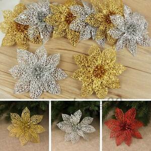 10X Christmas Glitter Large Poinsettia Flower Tree Hanging Decoration Hot AU