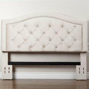 Headboard Yuliana Cream Velvet Upholstered Panel King/California King Size NEW!!