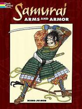 SAMURAI ARMS & ARMOR COLORING BOOK, 30 detailed drawings, warriors swords, Japan