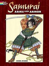 SAMURAI ARMS & ARMOR COLORING BOOK, 30 detailed drawings, warriors swords, Japan