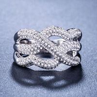 Infinity Women 925 Silver Jewelry Round Cut White Sapphire Wedding Ring Size6-10
