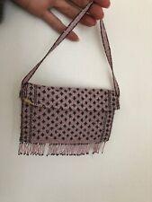 Vintage Antique Edwardian Micro Beaded Bag Purse Fine Pink & Silver