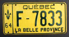 "QUEBEC CANADA LICENSE PLATE  1964 ""F-7833"" EMBOSSED FLEUR DE LYS QC CANADIAN"