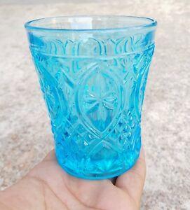 Vintage Val St Lambert Aqua Blue Glass Heavy Carnival Tumbler Pair Belgium