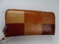 Women Zip Wallet Patchwork Multi-Color Genuine Leather Wristlet Clutch Purse