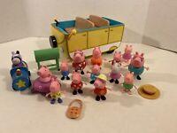 Peppa Pig Lot of Figures w/ Campervan Mummy Daddy George Zoe Rabbit - Jazwares