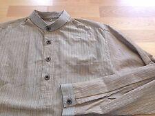 Wah Maker Western Band Collar Grandad Shirt Half Placket Popover Ltwt Cotton S