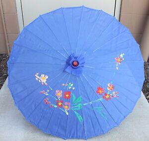 "32"" Inch Dia Blue Floral Pattern Wood Bamboo Nylon Parasol Umbrella Decoration"