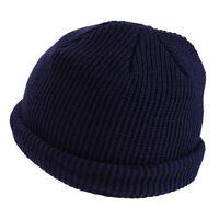 Warm Winter Knit Cuff Beanie Cap Fisherman Watch Cap Daily Ski Hats Skull Blue