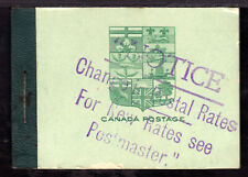 CANADA BOOKLET #BK3e, 1913 SERIF CAPITALS RATE SHEET, SURCHARGED COVER