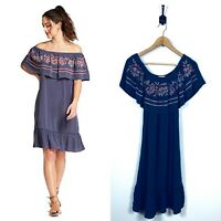 NWT Womens Knox Rose Small Off The Shoulder Embroidered Swing Dress