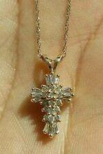 1.00 Ct Baguette Round Cut Diamond Cross Pendant Necklace 9CT Yellow Gold Finish