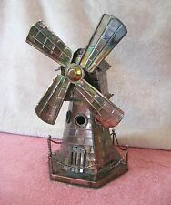 Vintage Wind Up Copper Metal Art Windmill Music Box Plays Windmill Of Your Mind
