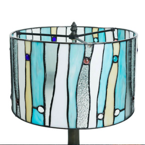 """Tiffany Style  Stained Glass Contemporary Table Lamp 14"""" Shade"""