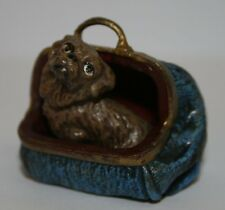 Wiener Bronze Hund Tasche handbemalt signiert FBW sehr schön