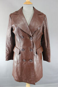 VINTAGE 70's BRITISH MADE SUEDE COURT DOUBLE-BREASTED BROWN LEATHER COAT 32 INCH