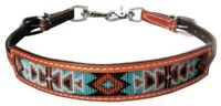 Showman MEDIUM OIL Leather Wither Strap With Navajo Beaded Inlay! NEW HORSE TACK