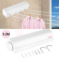 4 Line Wall Mount Hanging Clothes Washing Line Airer Drying Rack Retractable