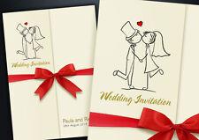 60 GATEFOLD PERSONALISED WEDDING INVITATIONS WITH ENVELOPES, RIBBON & FREE P&P