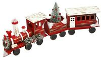"21"" Wooden Classic Holiday Decor Christmas Train With Tree And Floral Decoration"