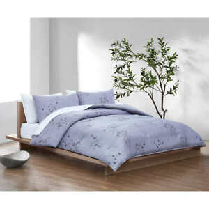 Calvin Klein Home Bamboo Flowers Bedding 3 Piece Set - Queen Comforter, 2 Shames