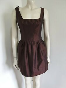 Taffeta Brown Fit & Flare Sleeveless Mini Cocktail Fully Lined Dress Size 10 ?