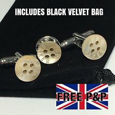 NEW TED BAKER MOP SHIRT BUTTON SILVER PLATED CUFFLINKS + TIE LAPEL PIN + POUCH