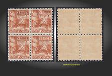 1921 SAMOA NATIVE HUT 1.1/2P. MINT NEVER H BLOCK OF 4 SCT.145a SG.155 MI.58A
