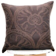 SALE Embroidered brown linen cotton throw pillow cover 16'' Damask Woven Cushion