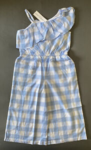 Girl's Size 5 Janie and Jack Blue & White Checked One Piece Jumpsuit