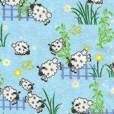 Fabric Baby Counting Sheep on Sky Blue Flannel by the 1/4 yard BIN