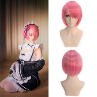 Pink Bob Women Girl Bangs Short Wig Cosplay Party Straight Synthetic Hair Wigs