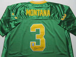 JOE MONTANA / AUTOGRAPHED NOTRE DAME GREEN & GOLD THROWBACK JERSEY / PLAYER HOLO