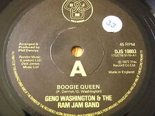 "GENO WASHINGTON & THE RAM JAM BAND - BOOGIE QUEEN     7"" VINYL"