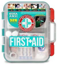 First Aid Kit Hard Teal Case 326 Pieces Exceeds OSHA and ANSI Guidelines