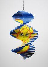 Spirale à vent en bois soleil et lune Bleu - 20x12 - Mobile - carillon
