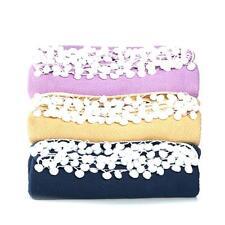 Samantha Brown 100% Cotton Blanket with Pompoms Lavender King size
