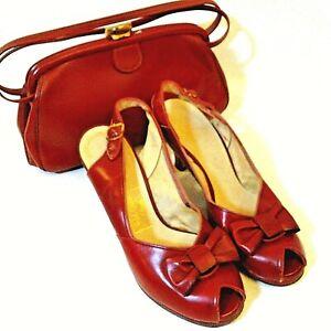 Vintage Red Cross Open Toe Shoes Pumps 6 1/2 B  w Bow Margolin Women's Bag