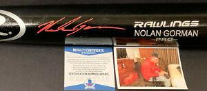 Nolan Gorman Cardinals Auto Signed Engraved Black Bat Beckett Rookie COA Red .
