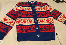 Vintage Hand Knit Wool Sweater Red Blue Hearts Birds Girls Size 5