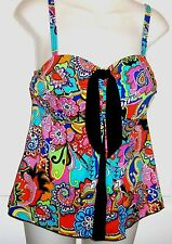 A Shore Fit Tie-Front Pleated Bright Tropical Mult Print Tankini Top  Sz 10 NWOT