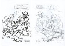 BRUNO BRINDISI - TEX e CARSON Disegno Originale (con matita sul retro) - FIRMATO