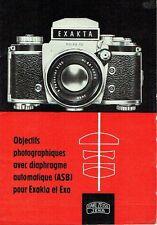 VEB Carl Zeiss Jena Objectifs photographiques ASB Exakta Exa Prospekt DDR 1964